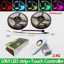 Kit 10M 5050 RGB LED Strip Light Dimmer White Tape 12V +2.4G Touch Remote +Power