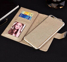 For iPhone 6s Plus Leather Magnetic Removable Wallet Card Flip Double Case Cover