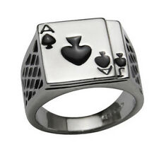 Mens 18K White Gold Plated Cool Enamel Spades Poker Ring Finger Jewelry Seraphic