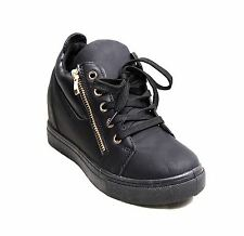 Womens Wedge Heel Casual Side Zip Skater Platform Shoes Lace Up Trainers UK 3-8