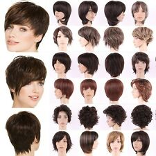Premium Short Synthetic Wig Sexy Boycut Curly Straight Ombre Two Tone Full Wigs