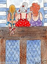 ORiGiNaL WaTeRCoLoUR PAiNTiNG signed LooKiNG OuT To SeA 4 beach hut seaside