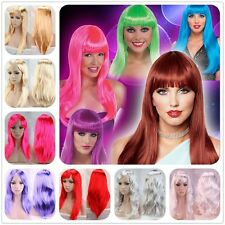 Cheap Party Costume Wig Long Curly Straight Full Head Wigs With Bangs 12colors U