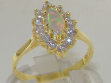 Solid 9ct Yellow Gold Natural Colorful Opal & Diamond Cluster Ring