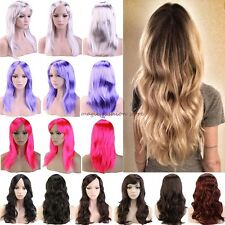 Soft Lady Long Curly Straight Full Wigs Cosplay Costume Party Fancy Dress UK F71