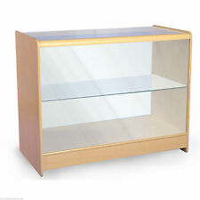Retail Counter Maple/White  Shop Display Storage Cabinets Glass Shelves Showcase