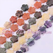 """20mm Natural Coin Flower Material Gemstone For Necklace Jewelry Making Beads 15"""""""