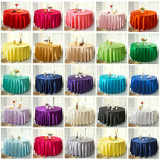 """10 Round 120"""" Satin Tablecloths 5ft Table Cover High Quality Event Party Wedding"""