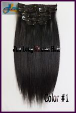 100g 16''~22''Virgin Real Human Hair Clip In REMY Hair Extensions Jet Black 8pcs