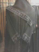 Abaya Special beautiful Black Velvet with Swarovski Gray Stone Abaya S-0049