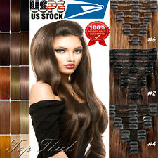 US HOT 250G Thick Clip in Remy Human Hair Extensions Full Head Double Weft SU284