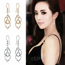 US-Charming 925 Silver Plated Fashion Women's Dangle Ear Stud Hoop Earrings Gold