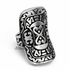 Men's Silver Warrior Shield Solid 316L Stainless Steel Shield Ring US Size 7 -13