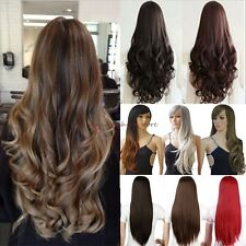 Ombre UK Women Long Curly Straight Full Wigs Cosplay Party Daily Fancy Dress F79