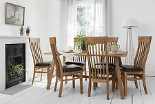Oak Dining Set Table with 6 Chairs Choice of Seating options Fabric or leather