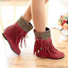 Womens Tassels Pull ON Beads Fashion Hidden Wedge Heel New Ankle Boot Shoes Plus