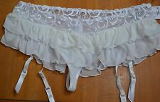 Fredericks of Hollywood  Bridal Garter Belt Slip W Thong White Mesh Lace XL