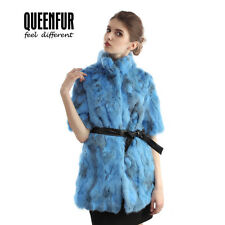 Queenfur Real Rabbit Fur Coat Natural Fur Jackets Winter Half Sleeve Fur Outwear