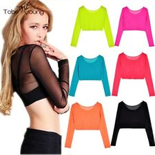 Sexy Women Long Sleeve Mesh Lace Top Blouse Tee Shirt Basic Solid Party Clubwear