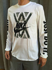 "Nike Gator Long Sleeve ""JUST DO IT"" Mens Tee T-Shirt White ALL SIZES NWT Cotton"