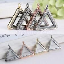 Crystals Floating Living Memory Openable Triangle Locket Pendant Charm DIY