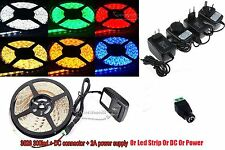 5M 3528 SMD 300Leds LED Flexible Strip Light +2A 12W Power Supply+Free Female DC