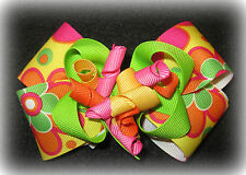 Bright Flower Yellow Boutique Hair Bow Korker Girl Baby