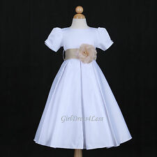 WHITE/CHAMPAGNE PLEATED WEDDING PAGEANT FLOWER GIRL DRESS 6M 12M 18M 2 4 6 8 10