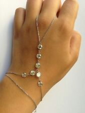 Lady Crystal Bead Slave bracelet Finger Ring Chain bangle Hand Harness Handchain