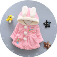 Kids Baby Girls Warm outerwear Hooded Coral Velvet coat jacket 6-36Months
