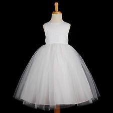 White Wedding Flower Girl Dress First Communion Bridesmaid 12M 18M 2 4 6 8 10 12
