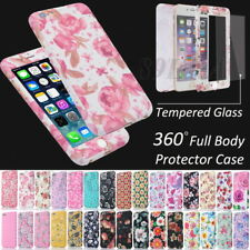 Flower Painted 360° Full Body Protection Case Shell + Tempered Glass For iPhone