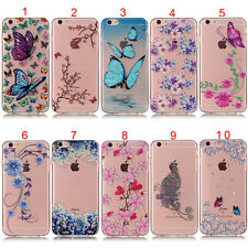 New Butterfly Blue Flowers Clear Slim Soft Tpu Skin Case Cover For iPhone Models
