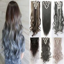 Hair Extensions Real Thick Full Head Clip In Long Straight as human Hair US f98