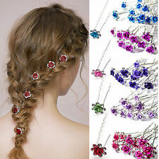Colorful Crystal Diamante Rhinestone Wedding Bridal Flower Hair Clip Hairpin Pin