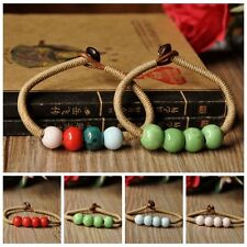 1Pc Fashion Pure Bohemian Style Ceramic Multi Beads Weave Rope Bracelet Stylish
