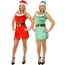 LADIES SEXY ELF OR SANTA COSTUME & HAT XMAS CHRISTMAS FANCY DRESS SANTA'S HELPER