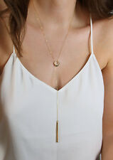 Simple Boho Karma Circle Long Bar Pendant Tiny Necklace Chain Silver Gold plated