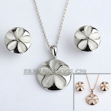 A1-S125 Fashion Simulated Opal Flower Necklace Earrings Jewelry Set 18KGP