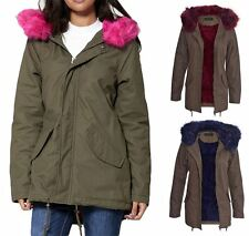 Womens Khaki Thick Lined Outerwear Pink Parka Coat Winter Fur Long Jacket UK8-16