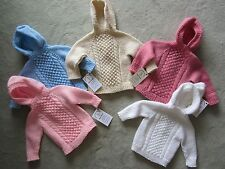 NEW! Hand Knit Baby Irish Knit Sweater back zipper 6 months Blue Pink or Cream