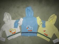 NEW! Hand Knit Baby Ducking Sweater back zipper 6 month Yellow White Blue Aqua
