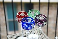 AJKA MARSALA Cut to Clear Crystal Wine Goblets Glasses Blue, Purple, Green, Red