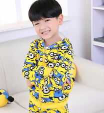 Casual Kids Boys Girls Hoodies Minions Despicable Me Zipper Coat Cartoon Clothes