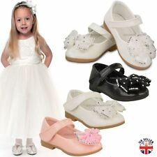 Baby Kids Girls Flat Bow Shoes Infants Velcro Strap Christening Soft Party Size