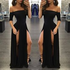 Women Sexy Gown Prom Cocktail Evening Party Split Black Long Dress Off Shoulder