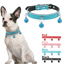 Soft Padded Leather Small Dog Cat Collars with 3 Bells for Shih Tzu Poodle