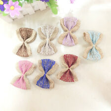 1Pc Fashion Linen Bow Lace Ancient Chic Rustic Wedding Craft Jute Bowknot Ribbon
