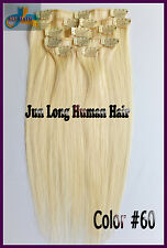 8pcs Virgin Clip In Real Human Hair Remy Hair Clip Extensions Platinum Blonde