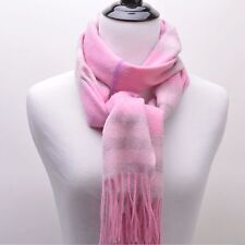 New Cashmere 10%, Wool 90% Wrap Shawl Scarf Check Plaid Scarf S0504 - Pink/ Blue